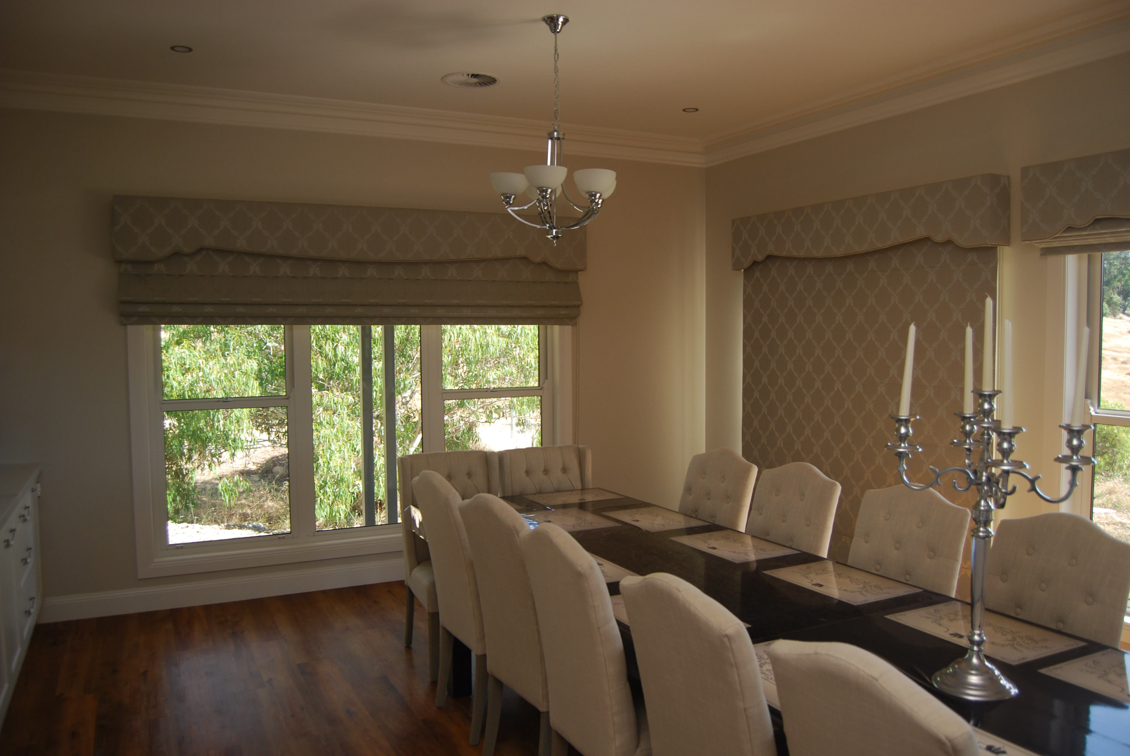 Soft Roman Blinds with Pelmets in Dining Room_1.JPG